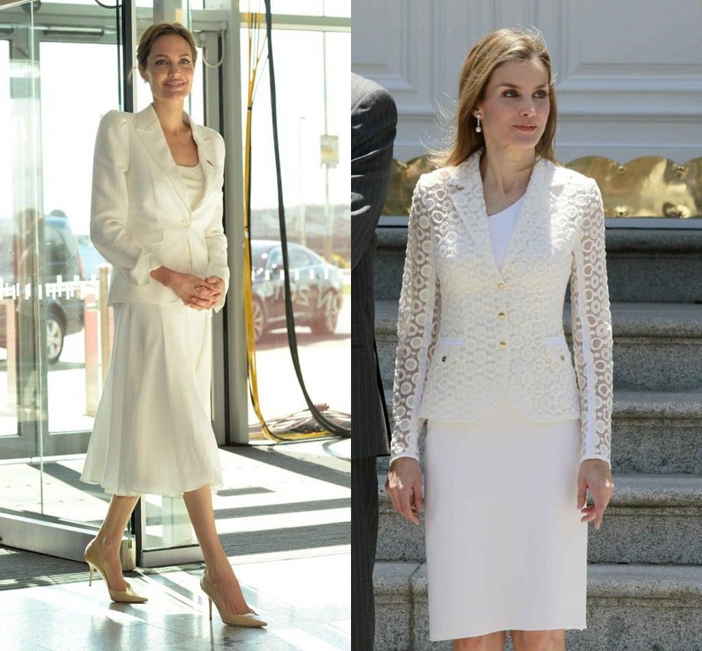 Letizia d'Espagne et Angelina Jolie : qui porte le mieux le total look blanc ?